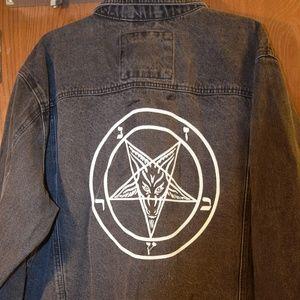 Vintage  Wrangler Jean Jacket Pentagram Satan Goth